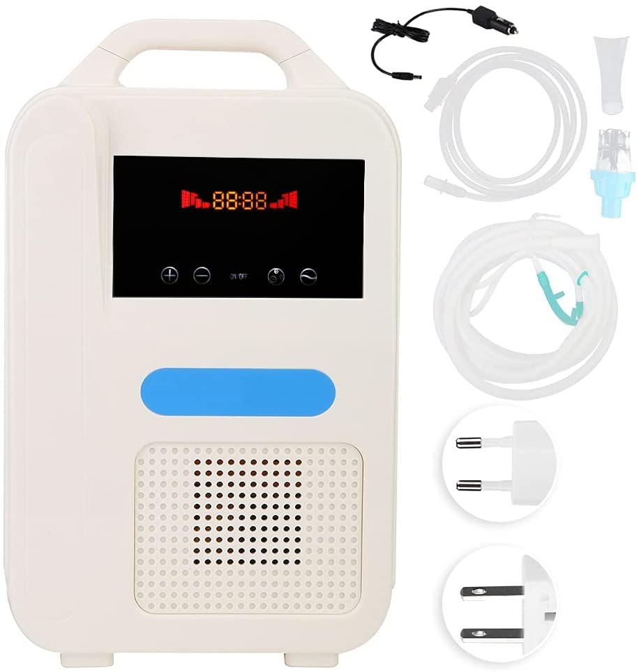 Portable Oxygen Concentrator, Negative Ion Atomization Oxygen Generator Machine with Vehicle Power Cord, Household Large Capacity Breathing Machine Instrument - Oxygen for Two Persons 1L/min