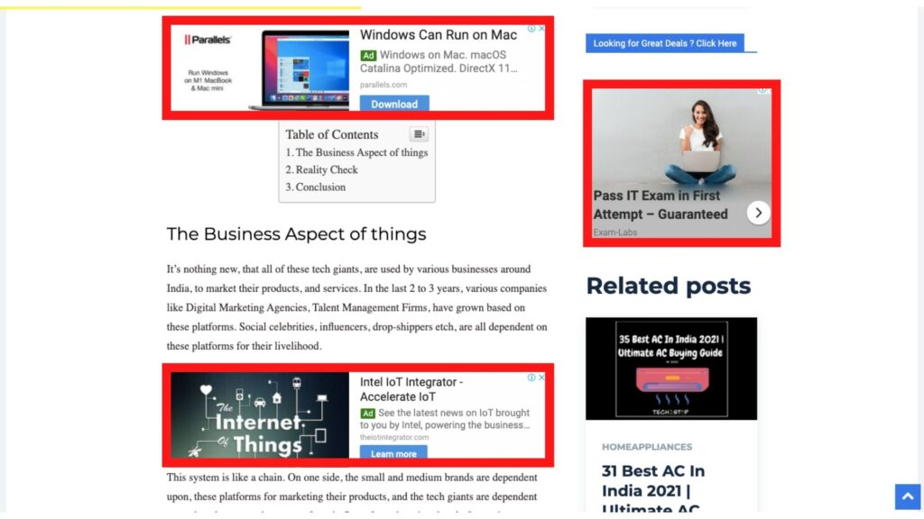 in content Ad + Post Sidebar